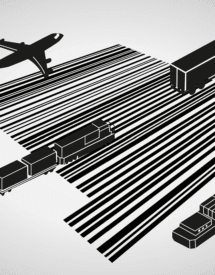 A vector image of vehicles on a barcode